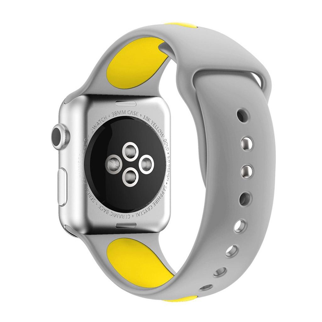 Bilde av Apple Klokkearmbånd Tofarget 38 Mm Laget Av Silikon - Grå Og Gul