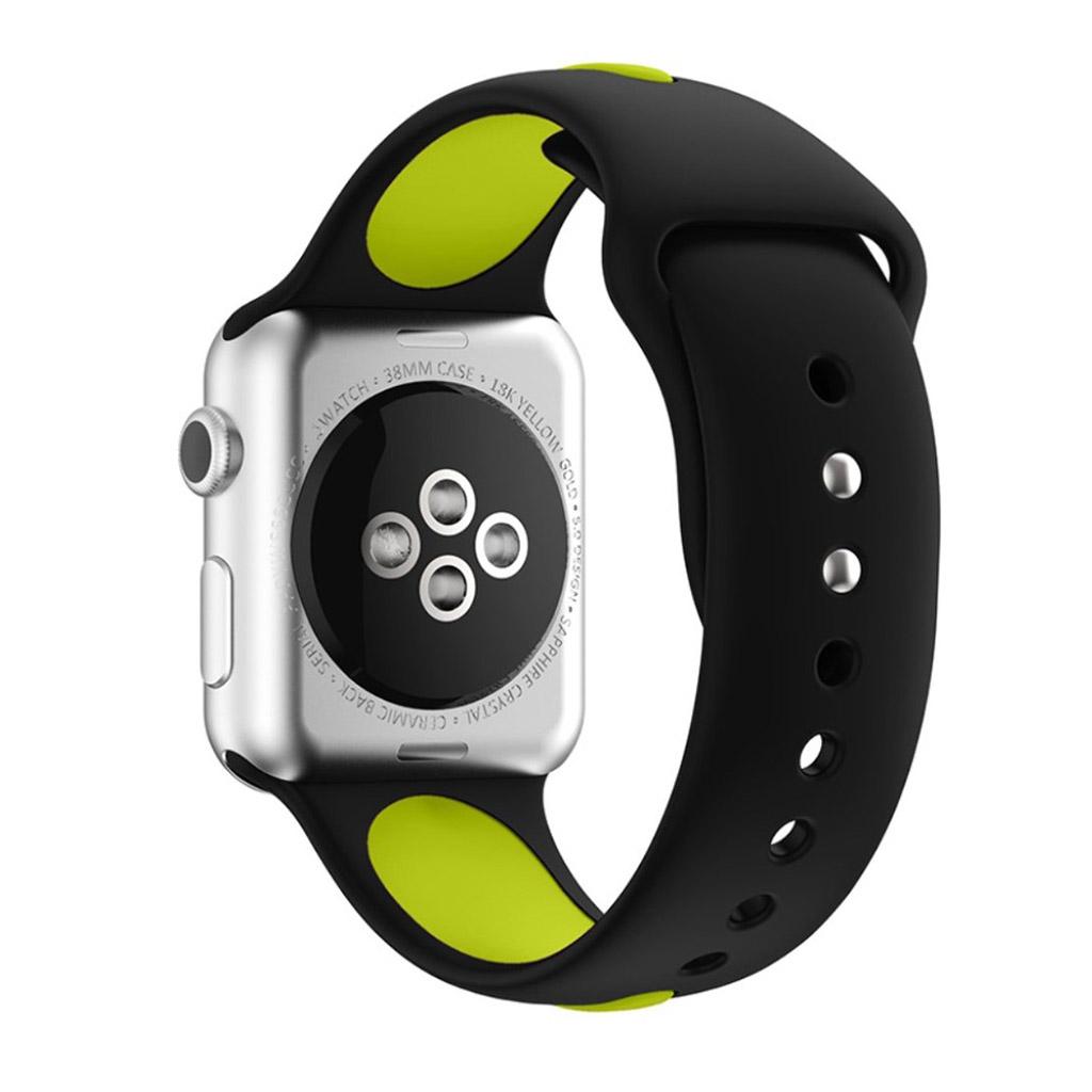 Bilde av Apple Klokkearmbånd Tofarget 38 Mm Laget Av Silikon - Svart Og Lys Grønn