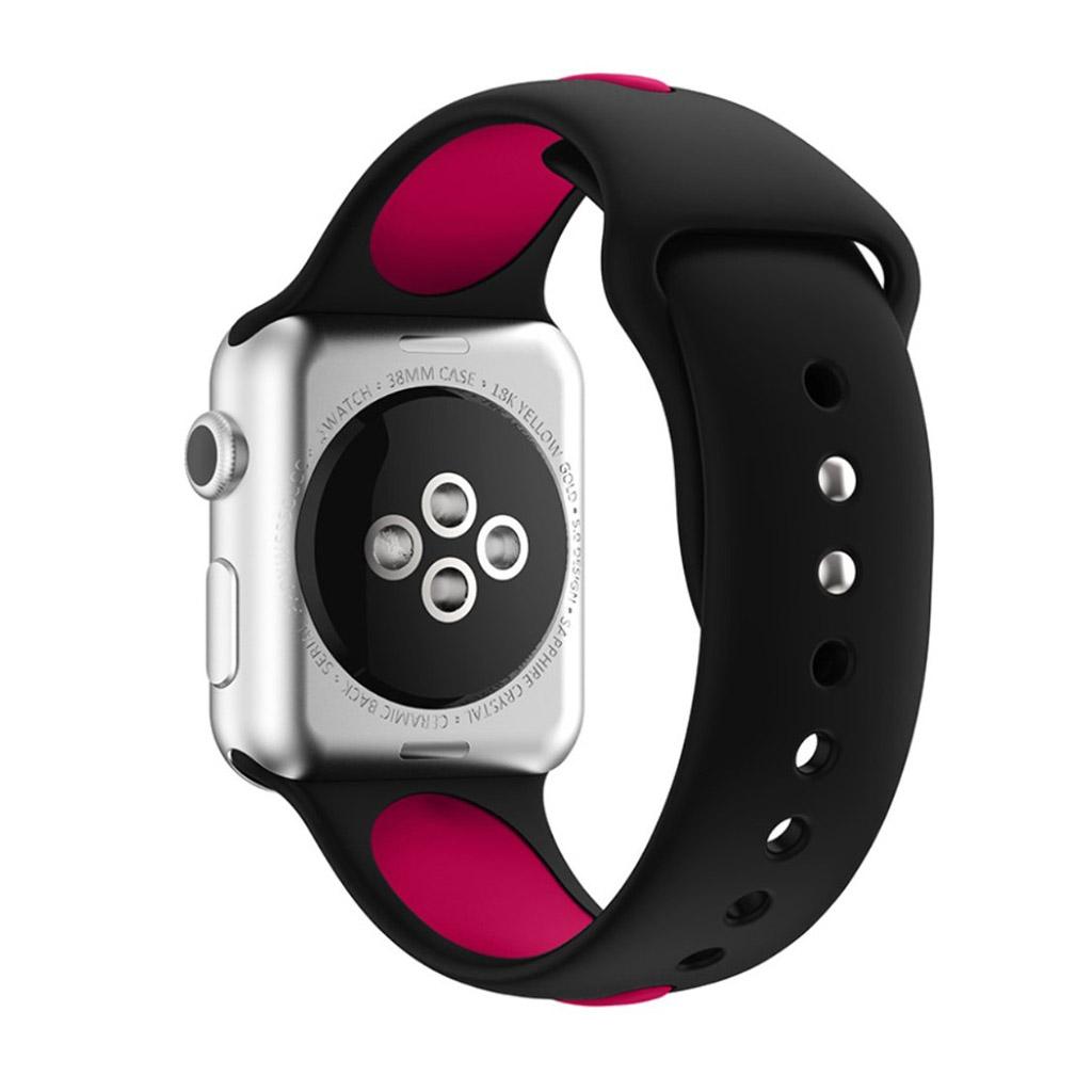 Bilde av Apple Klokkearmbånd Tofarget 38 Mm Laget Av Silikon - Svart Og Mørk Rød