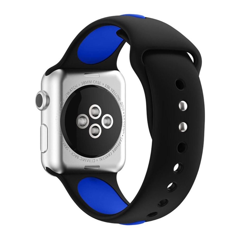 Bilde av Apple Klokkearmbånd Tofarget 38 Mm Laget Av Silikon - Svart Og Blå