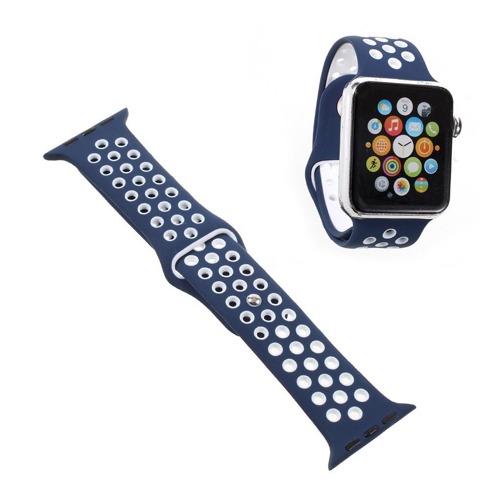 Bilde av Apple Klokkearmbånd Erstatning 38 Mm Laget Av Silikon - Hvit Og Blå