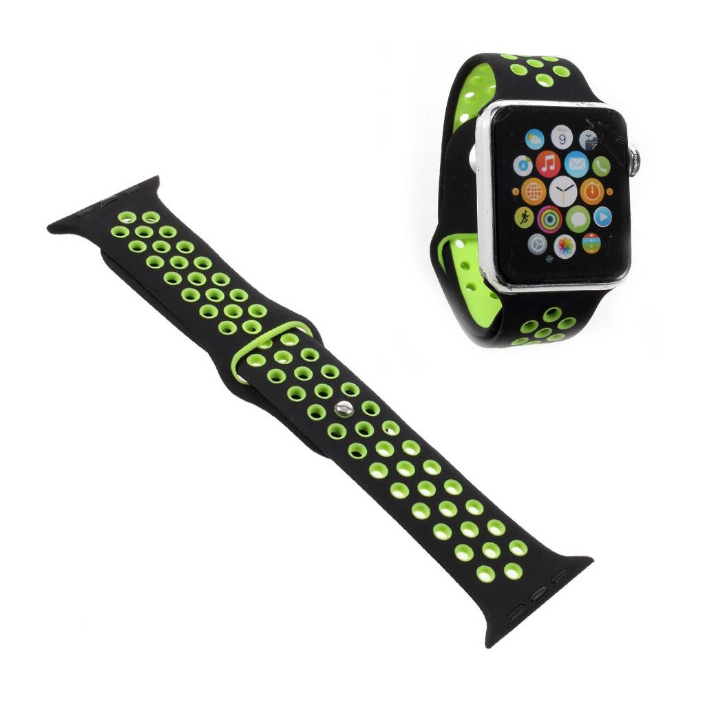 Bilde av Apple Klokkearmbånd Erstatning 38 Mm Laget Av Silikon - Grønn Og Svart