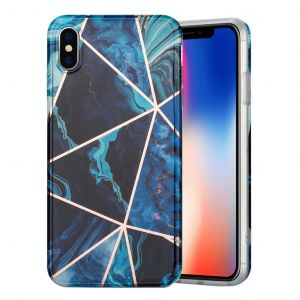 Marble iPhone Xs Max Etui - Blå