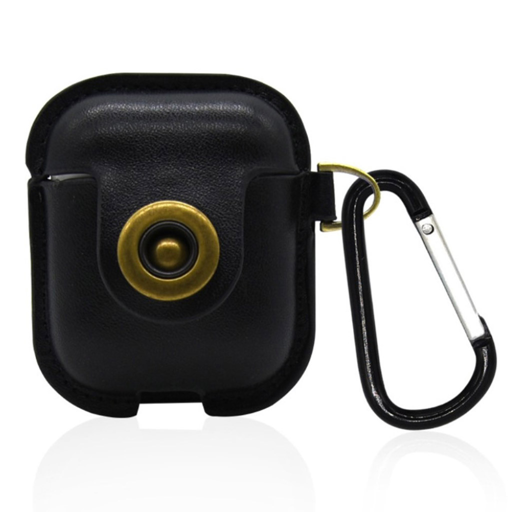 Bilde av Airpods Leather Protective Case With Keychain - Black