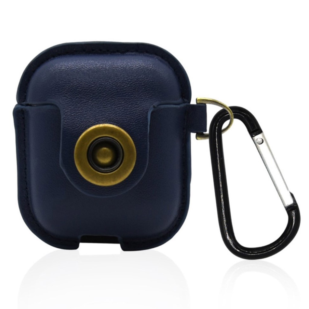 Bilde av Airpods Leather Protective Case With Keychain - Blue