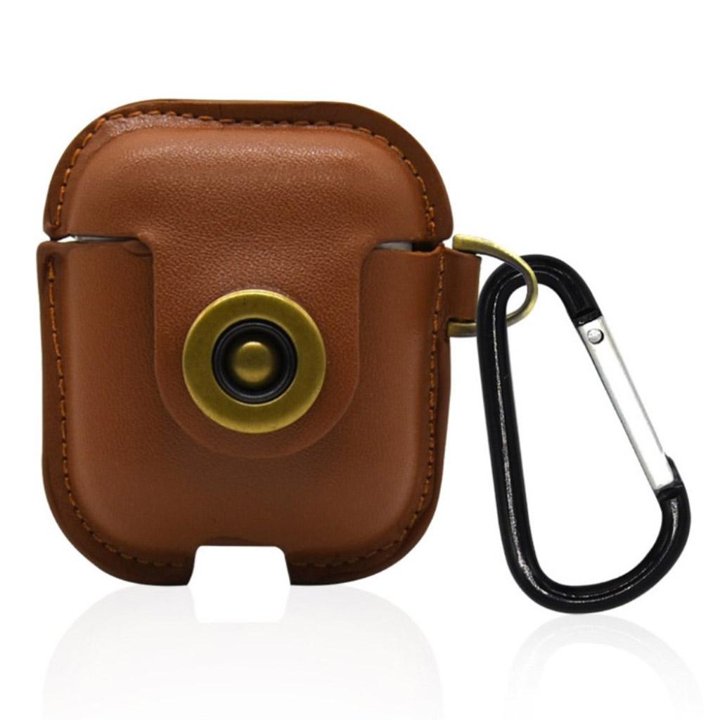 Bilde av Airpods Leather Protective Case With Keychain - Khaki