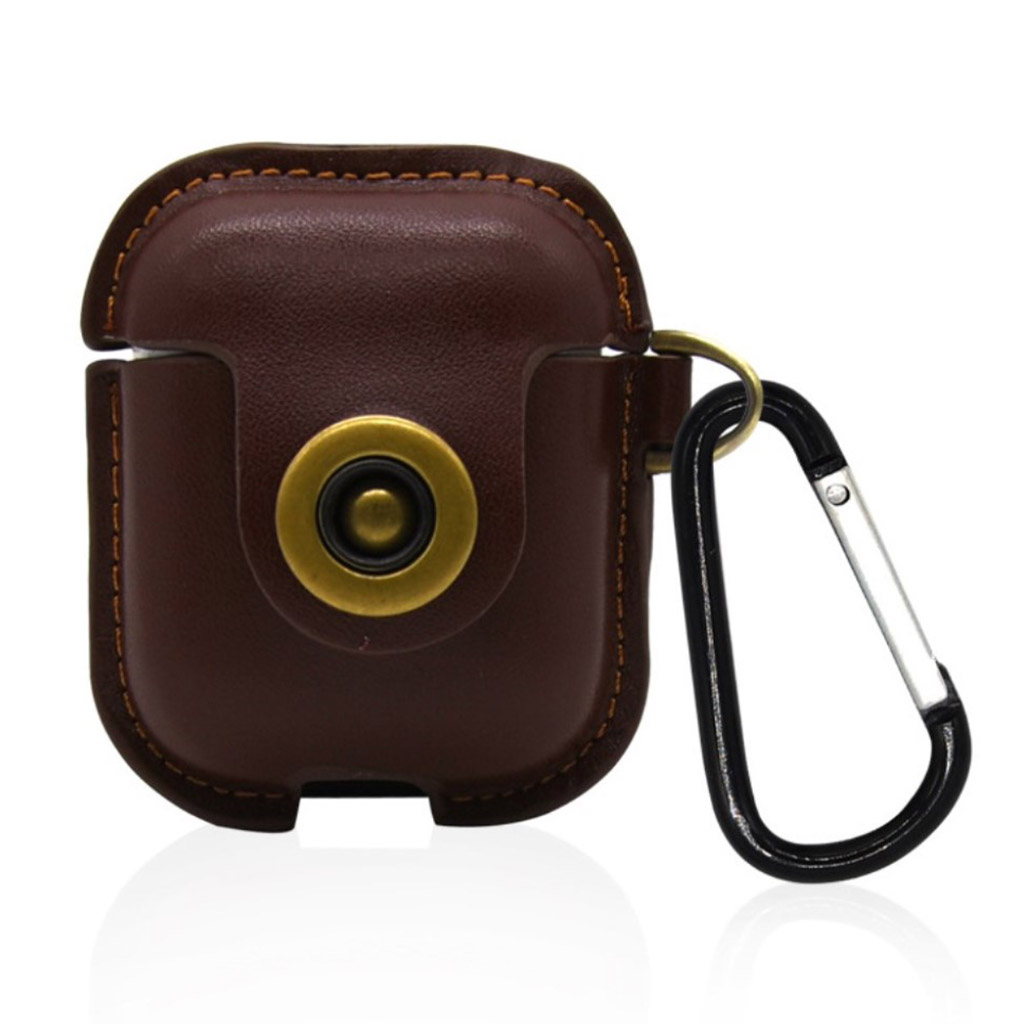 Bilde av Airpods Leather Protective Case With Keychain - Brown