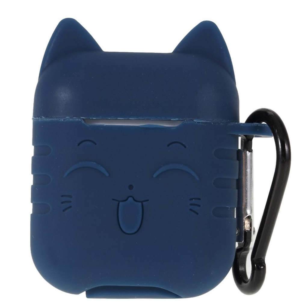 Bilde av Airpods Cat Pattern Silicone Case - Black / Blue