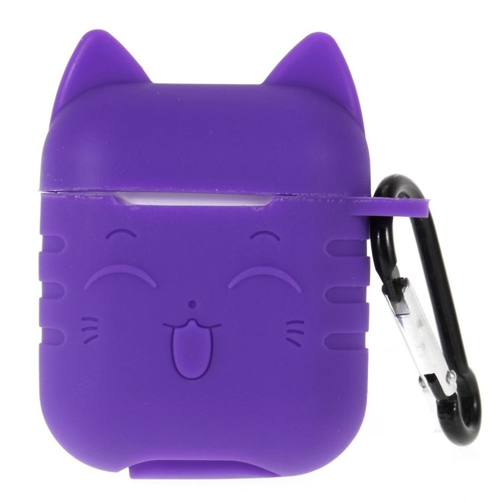 Bilde av Airpods Cat Pattern Silicone Case - Dark Purple