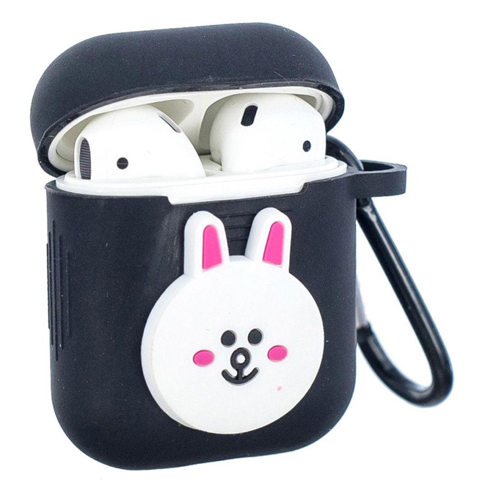 Bilde av Airpods Cartoon Pattern Silicone Case - Black / Smiling Rabbit