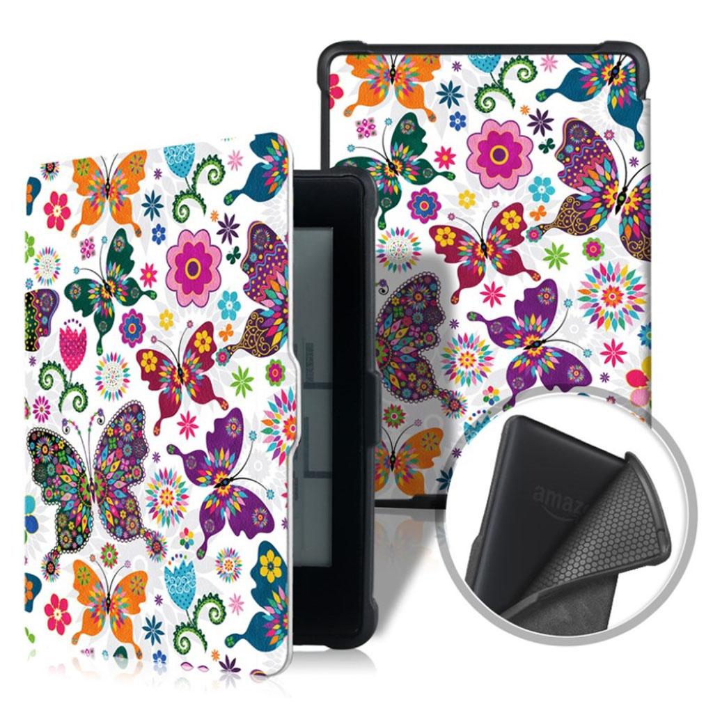 Bilde av Amazon Kindle Paperwhite Beskyttelses Deksel Av Syntetisk Skinn Med Printet Mønster - Fargerike Sommerfugler Og Blomster