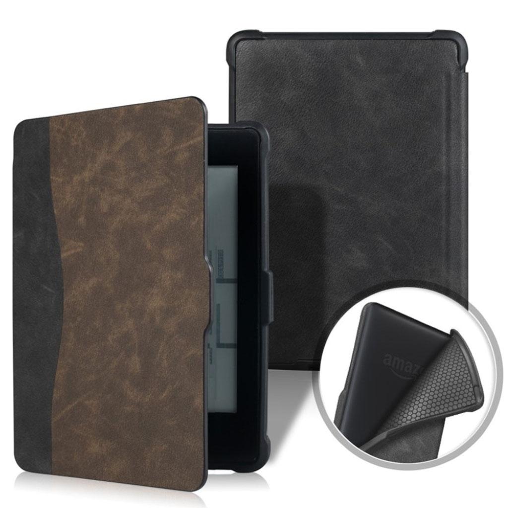 Bilde av Amazon Kindle Paperwhite Beskyttelses Deksel Av Syntetisk Skinn Med Printet Mønster - Svart Og Brun