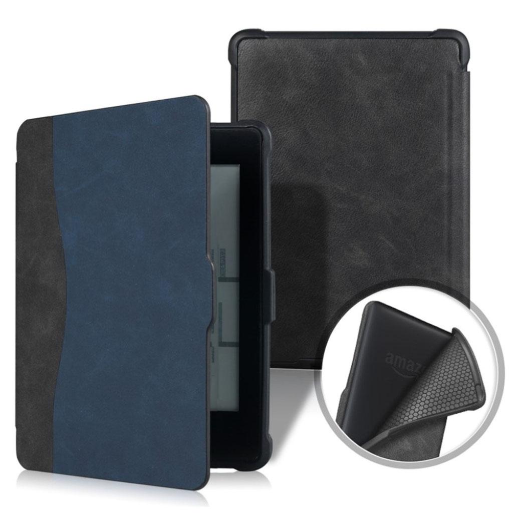 Bilde av Amazon Kindle Paperwhite Beskyttelses Deksel Av Syntetisk Skinn Med Printet Mønster - Svart Og Blå