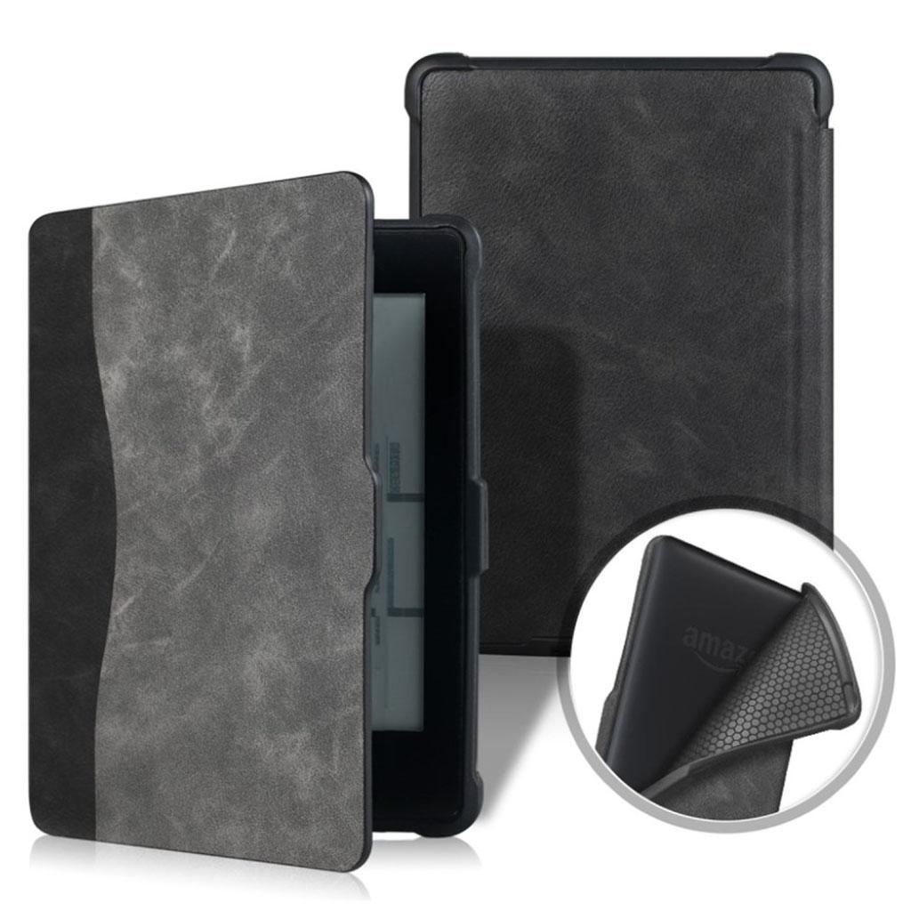 Bilde av Amazon Kindle Paperwhite Beskyttelses Deksel Av Syntetisk Skinn Med Printet Mønster - Svart Og Grå
