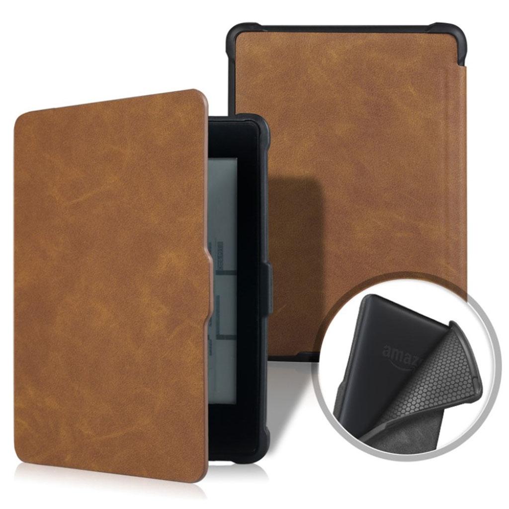 Bilde av Amazon Kindle Paperwhite Beskyttelses Deksel Av Syntetisk Skinn Med Vill Hest Tekstur - Brun