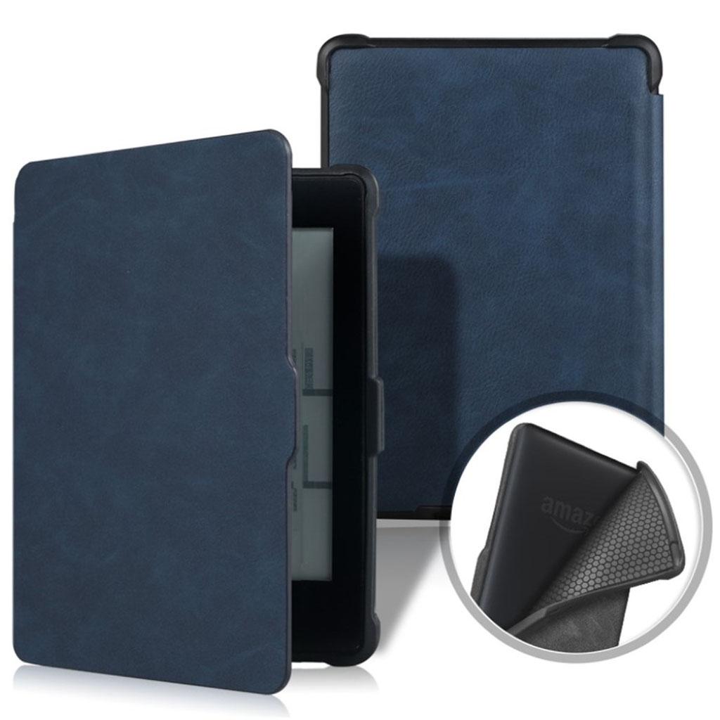 Bilde av Amazon Kindle Paperwhite Beskyttelses Deksel Av Syntetisk Skinn Med Vill Hest Tekstur - Mørke Blå