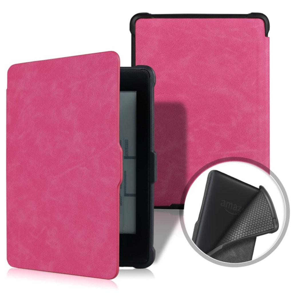 Bilde av Amazon Kindle Paperwhite Beskyttelses Deksel Av Syntetisk Skinn Med Vill Hest Tekstur - Rose