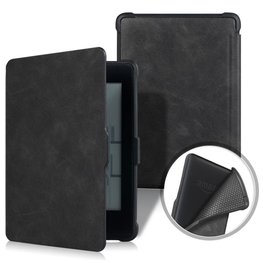 Bilde av Amazon Kindle Paperwhite Beskyttelses Deksel Av Syntetisk Skinn Med Vill Hest Tekstur - Svart