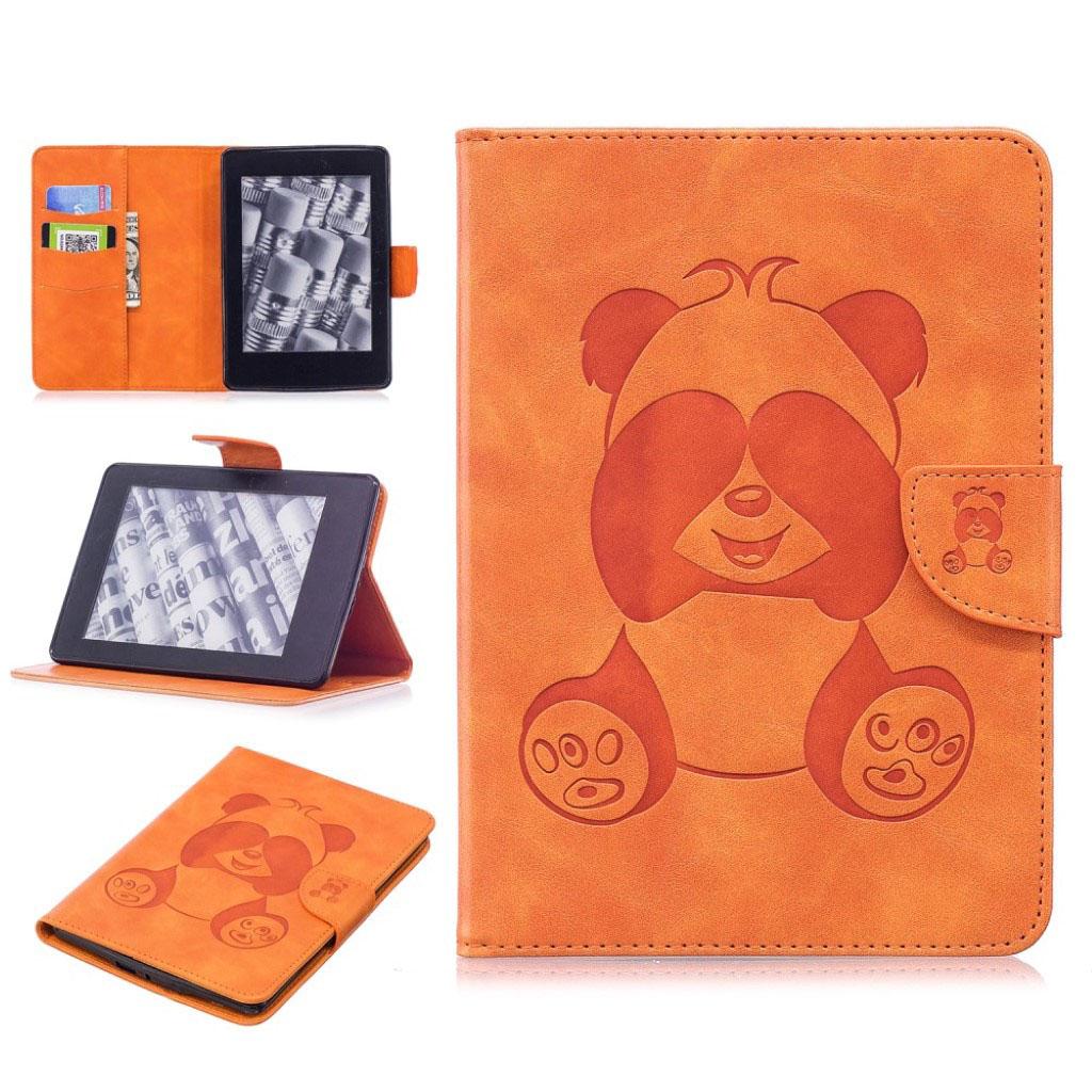 Bilde av Amazon Kindle Paperwhite Beskyttelses Deksel Av Syntetisk Skinn Med Panda Avtrykk - Oransj
