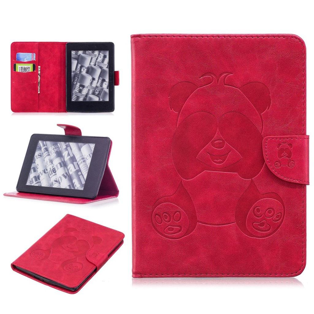Bilde av Amazon Kindle Paperwhite Beskyttelses Deksel Av Syntetisk Skinn Med Panda Avtrykk - Rød