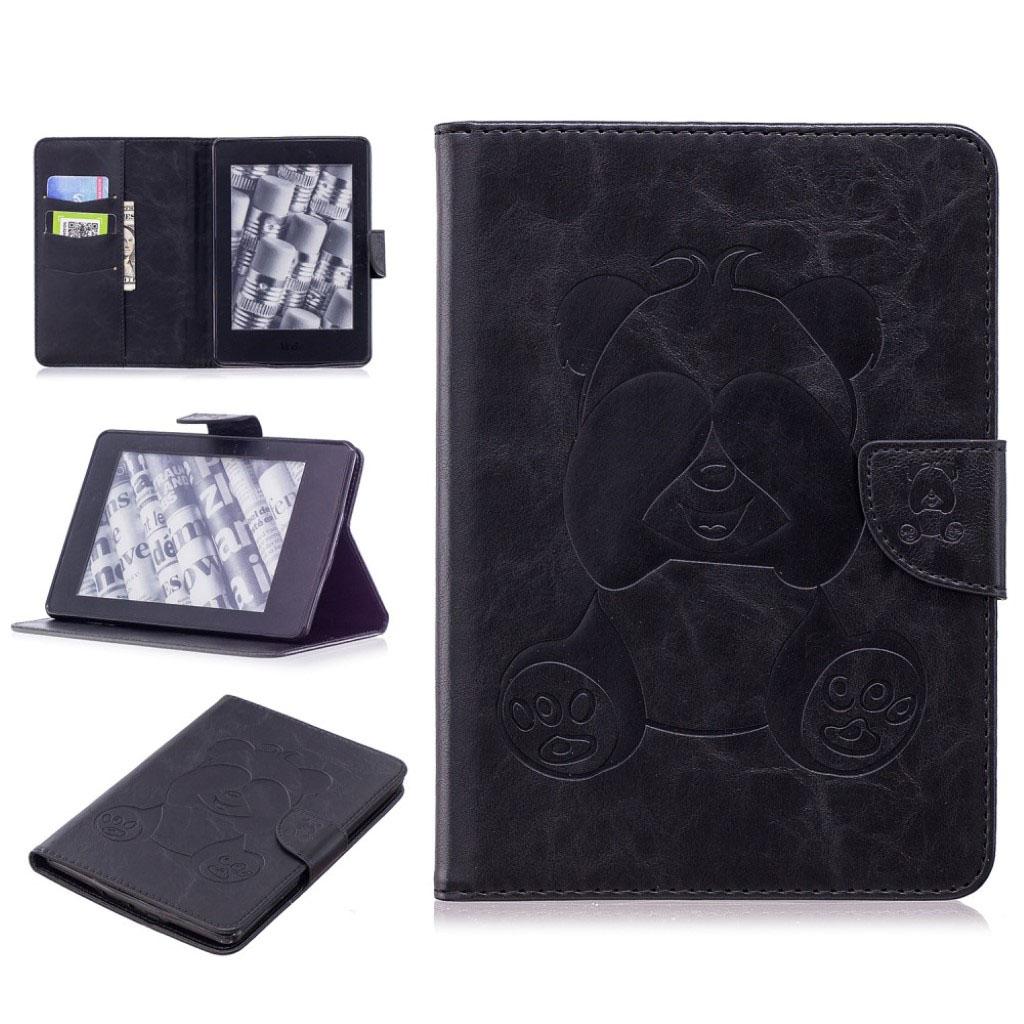 Bilde av Amazon Kindle Paperwhite Beskyttelses Deksel Av Syntetisk Skinn Med Panda Avtrykk - Svart