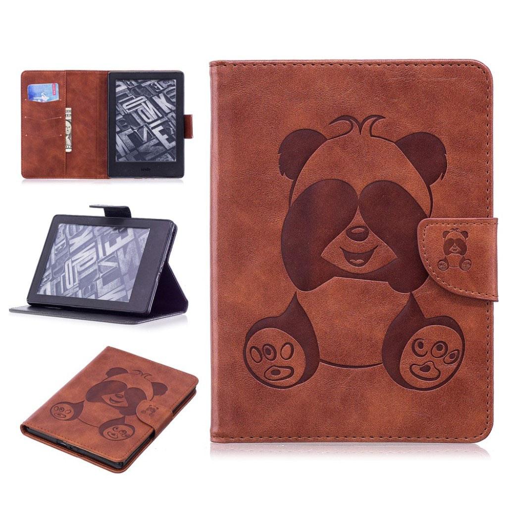 Bilde av Amazon Kindle Beskyttelses Deksel Av Syntetisk Skinn Med Panda Av Trykk - Kaffe