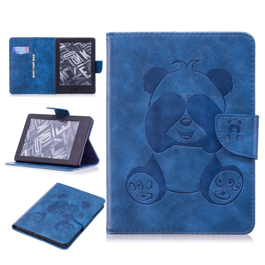 Bilde av Amazon Kindle Beskyttelses Deksel Av Syntetisk Skinn Med Panda Av Trykk - Blå