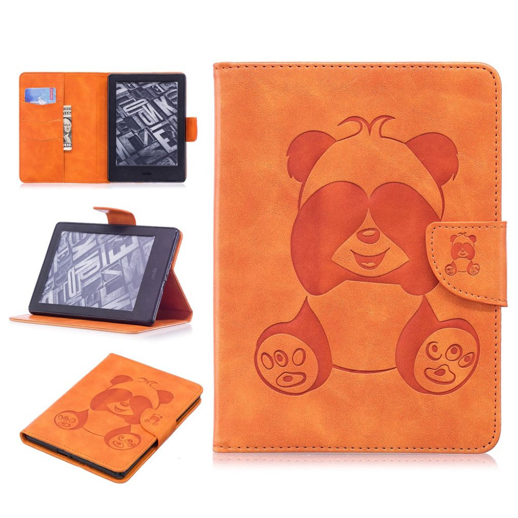 Bilde av Amazon Kindle Beskyttelses Deksel Av Syntetisk Skinn Med Panda Av Trykk - Brun