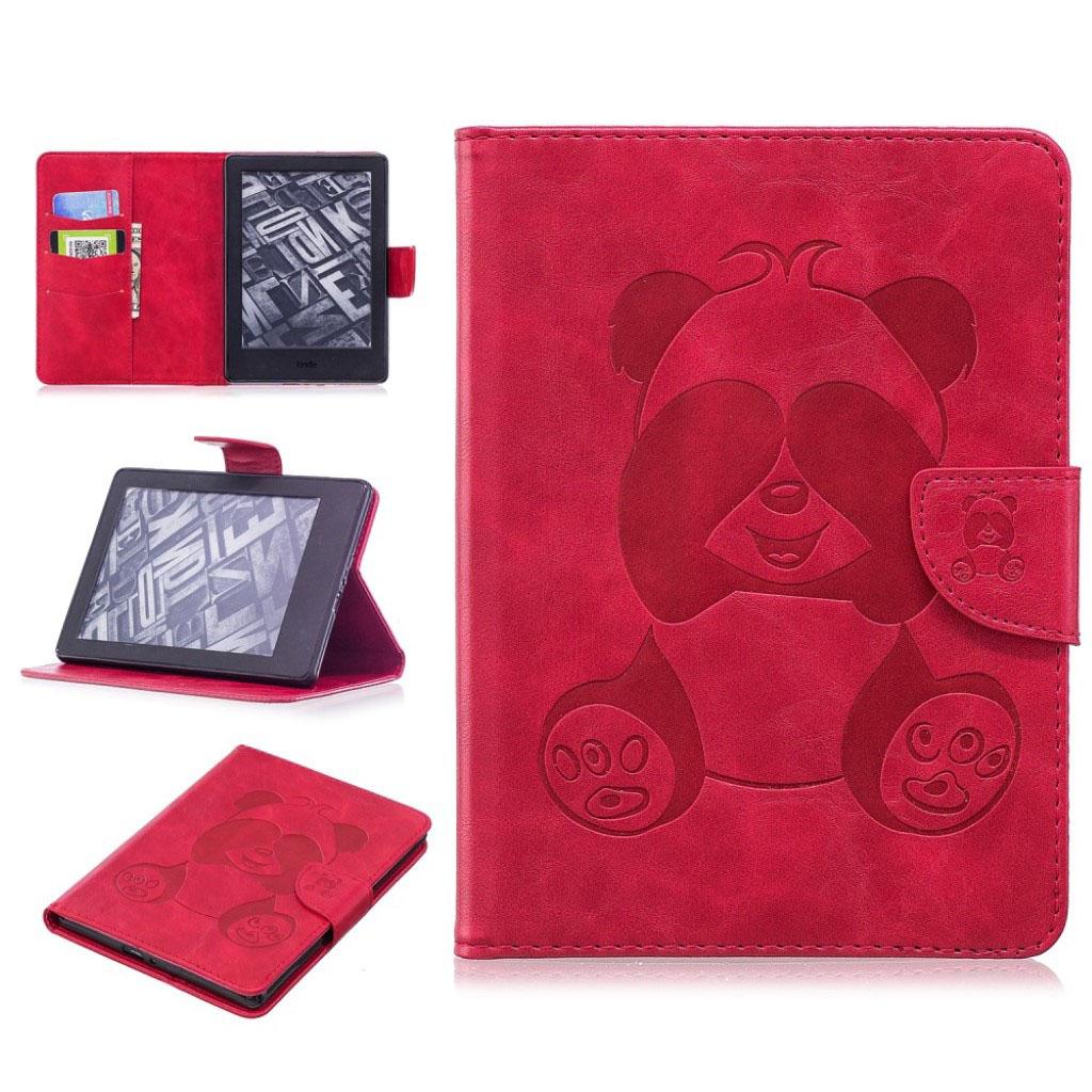 Bilde av Amazon Kindle Beskyttelses Deksel Av Syntetisk Skinn Med Panda Av Trykk - Rød