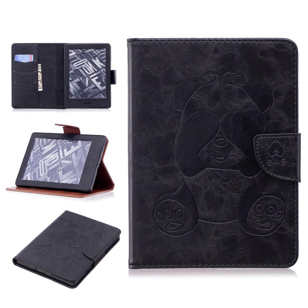 Bilde av Amazon Kindle Beskyttelses Deksel Av Syntetisk Skinn Med Panda Av Trykk - Svart