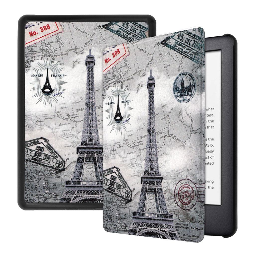 Bilde av Amazon Kindle (2019) Skinnetui Med Mønster - Eiffeltårnet