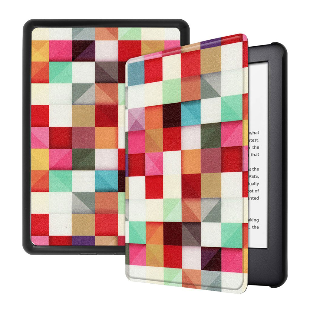 Bilde av Amazon Kindle (2019) Pattern Leather Case - Colorful Grids