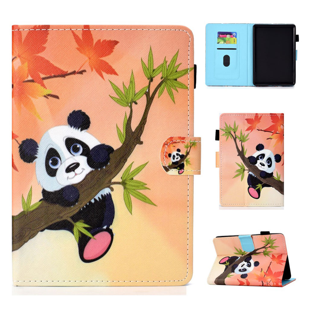 Bilde av Amazon Kindle (2019) Mønstret Læretui - Lønnetre Blad Og Bambus Panda