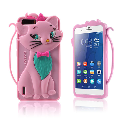 Bilde av 3D Cat Huawei Honor 6 Plus Cover - Pink