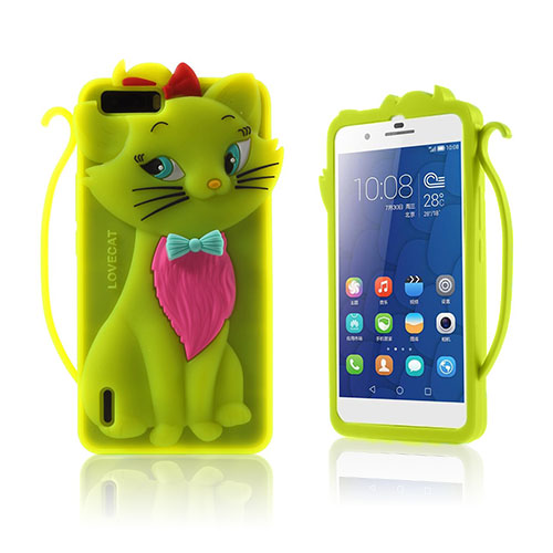 Bilde av 3D Cat Huawei Honor 6 Plus Cover - Green