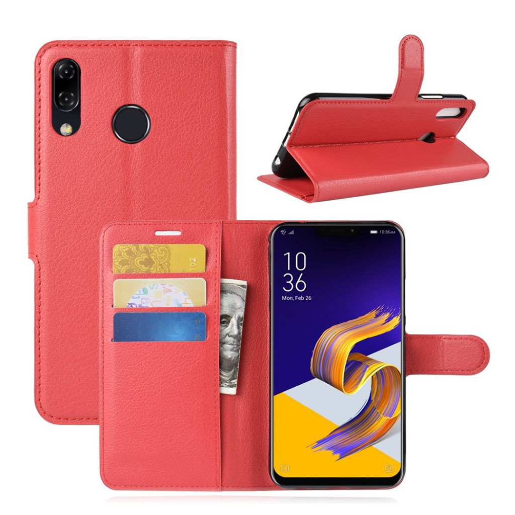 Bilde av Asus Zenfone 5 Beskyttelses Deksel Av Syntetisk Skinn Med Litchi Tekstur - Rød