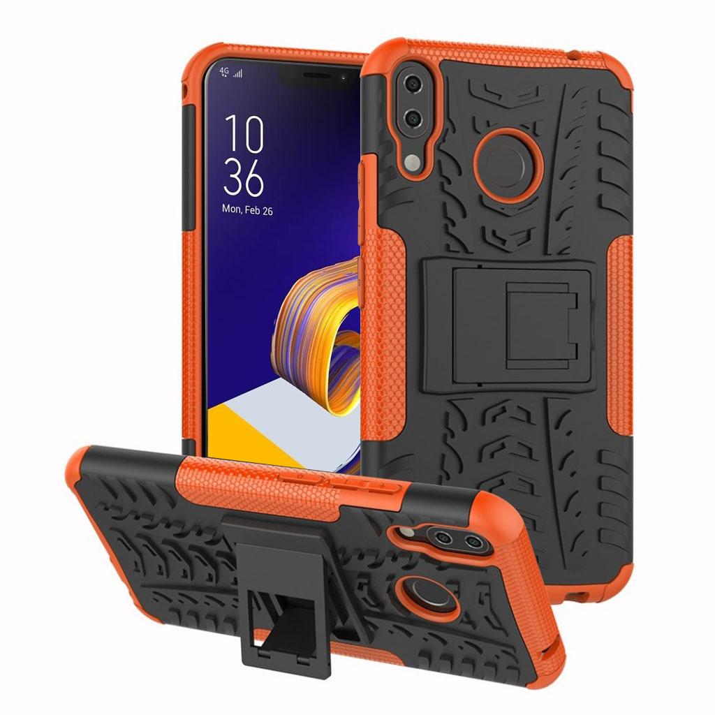 Bilde av Asus Zenfone 5z Beskyttelses Deksel Av Hybrid Materiale Med Dekk Mønster - Oransj