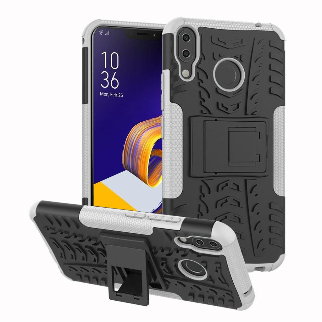 Bilde av Asus Zenfone 5z Beskyttelses Deksel Av Hybrid Materiale Med Dekk Mønster - Hvit