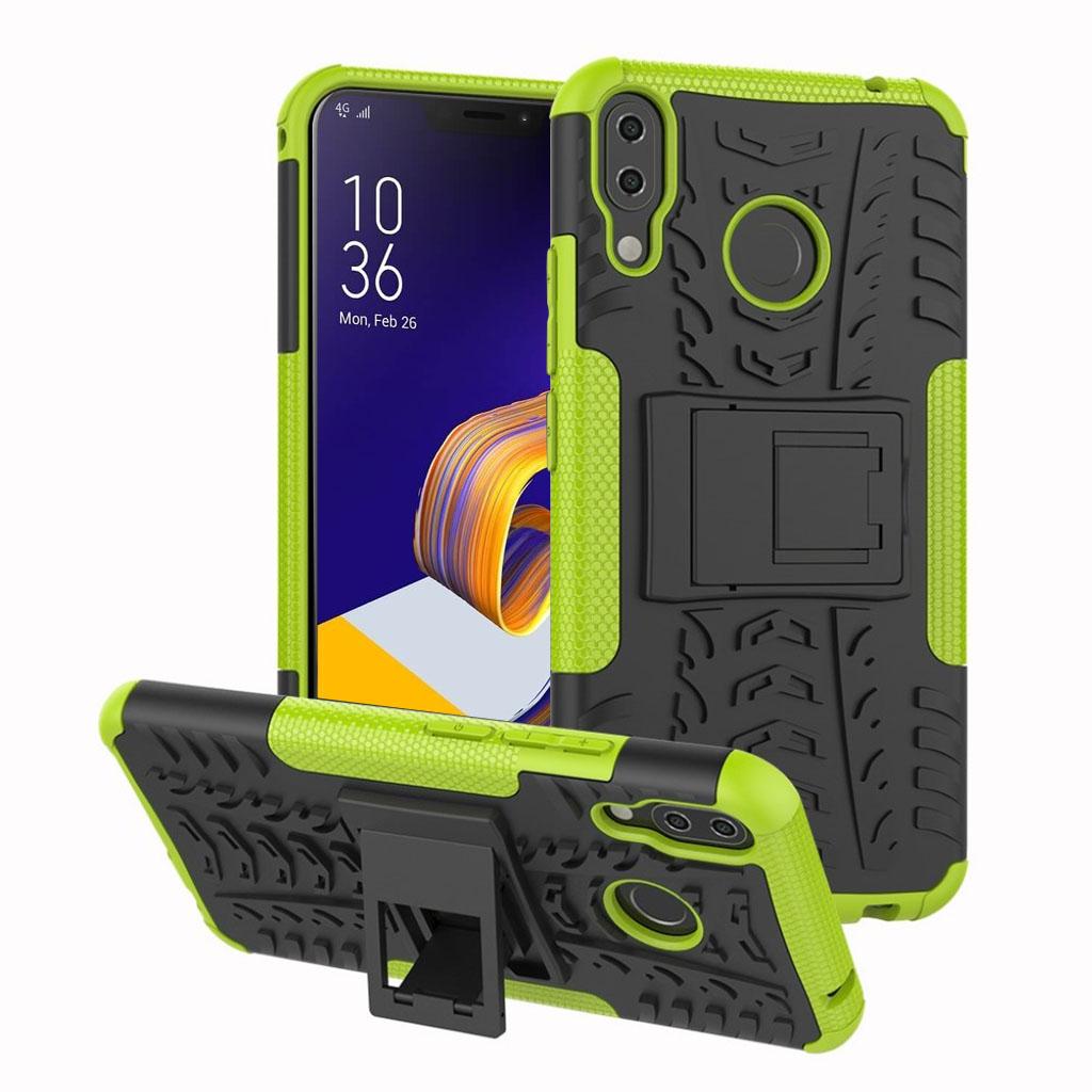 Bilde av Asus Zenfone 5z Beskyttelses Deksel Av Hybrid Materiale Med Dekk Mønster - Grønn