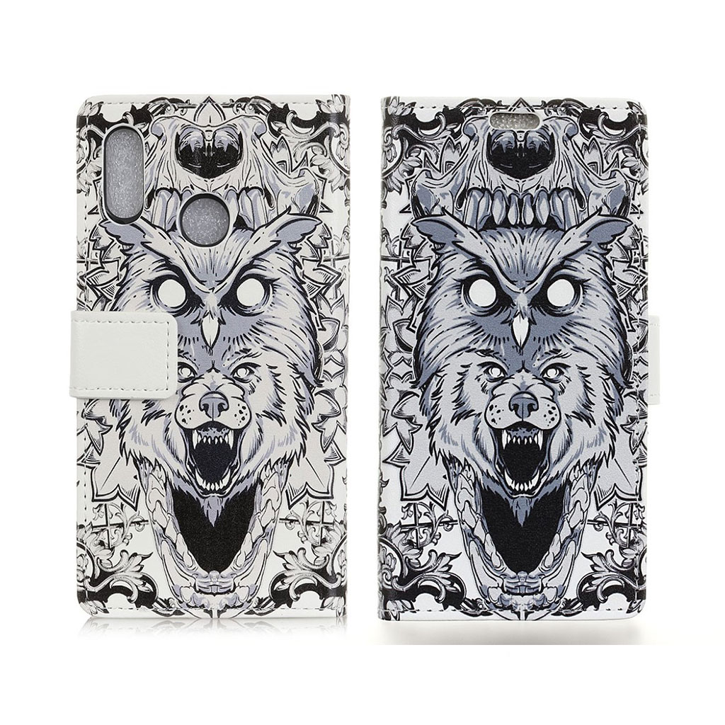 Bilde av Asus Zenfone Max (m2) Pattern Printing Leather Flip Case - Abstract Owl And Lion