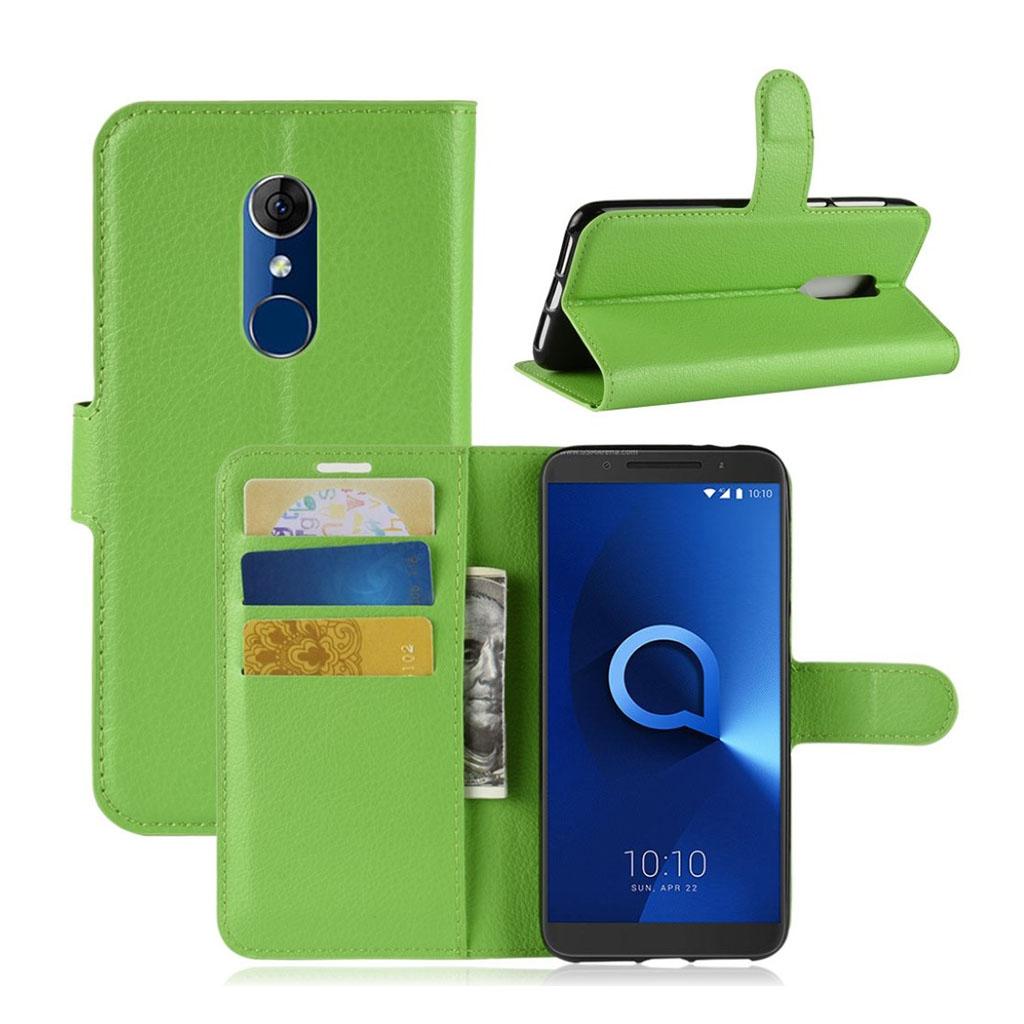 Bilde av Alcatel 3 Beskyttelses Deksel Av Syntetisk Skinn Med Litchi Tekstur - Grønn