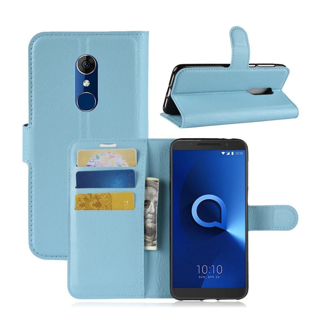 Bilde av Alcatel 3 Beskyttelses Deksel Av Syntetisk Skinn Med Litchi Tekstur - Baby Blå