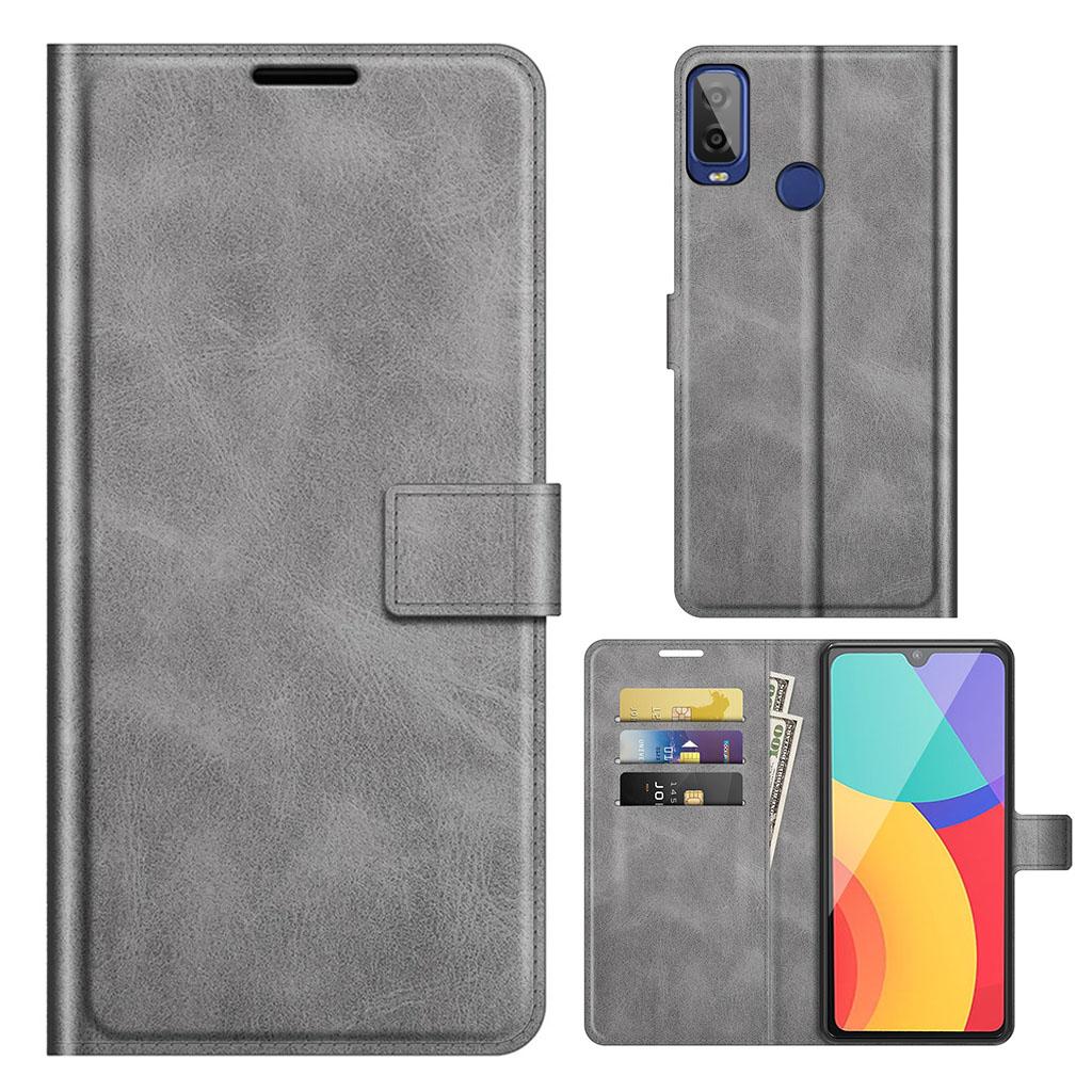 Bilde av Wallet-style Leather Case For Alcatel 1l (2021) - Grey
