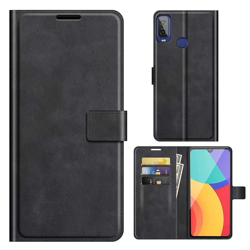Bilde av Wallet-style Leather Case For Alcatel 1l (2021) - Black