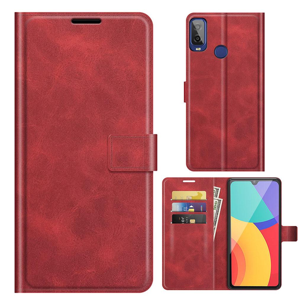 Bilde av Wallet-style Leather Case For Alcatel 1l (2021) - Red