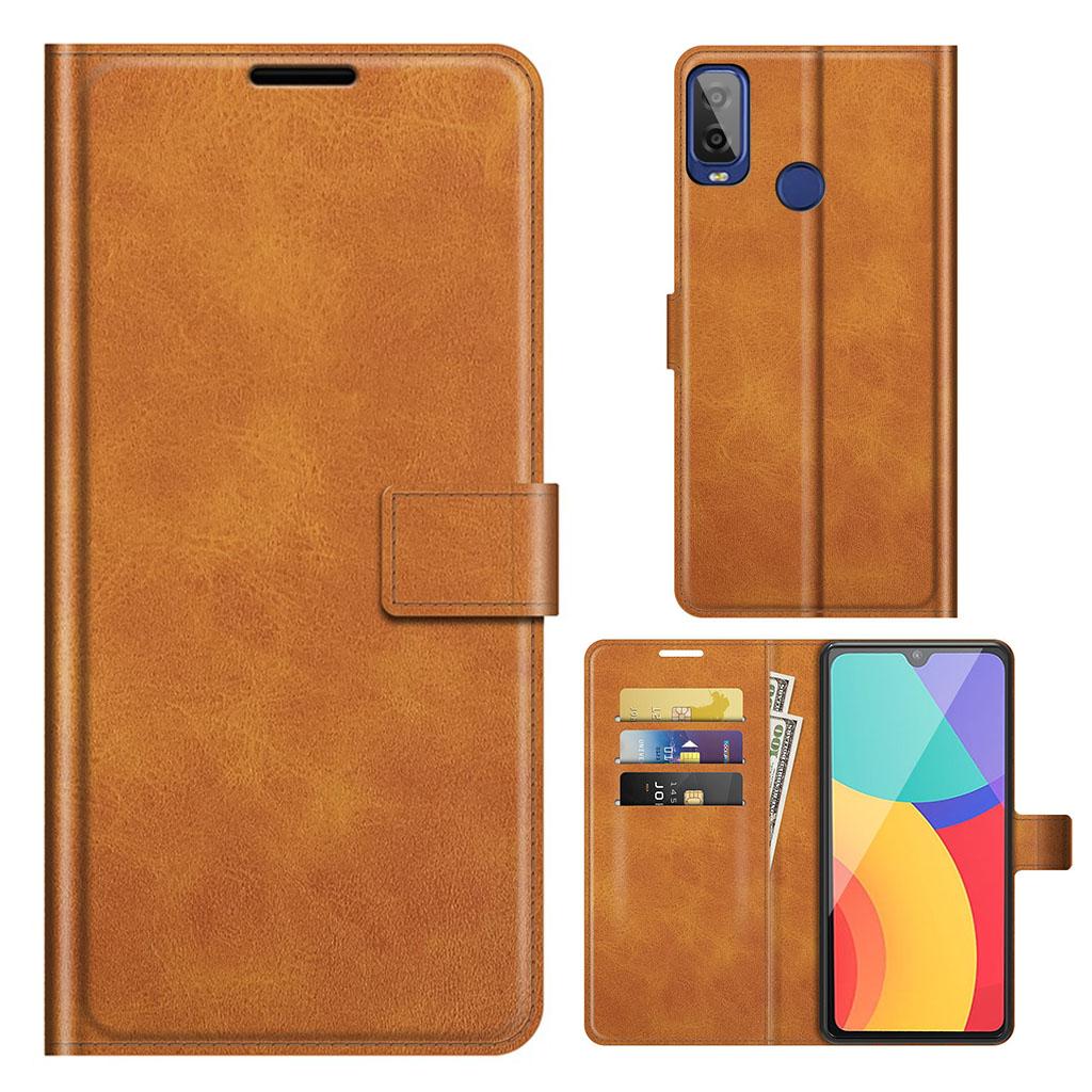 Bilde av Wallet-style Leather Case For Alcatel 1l (2021) - Orange