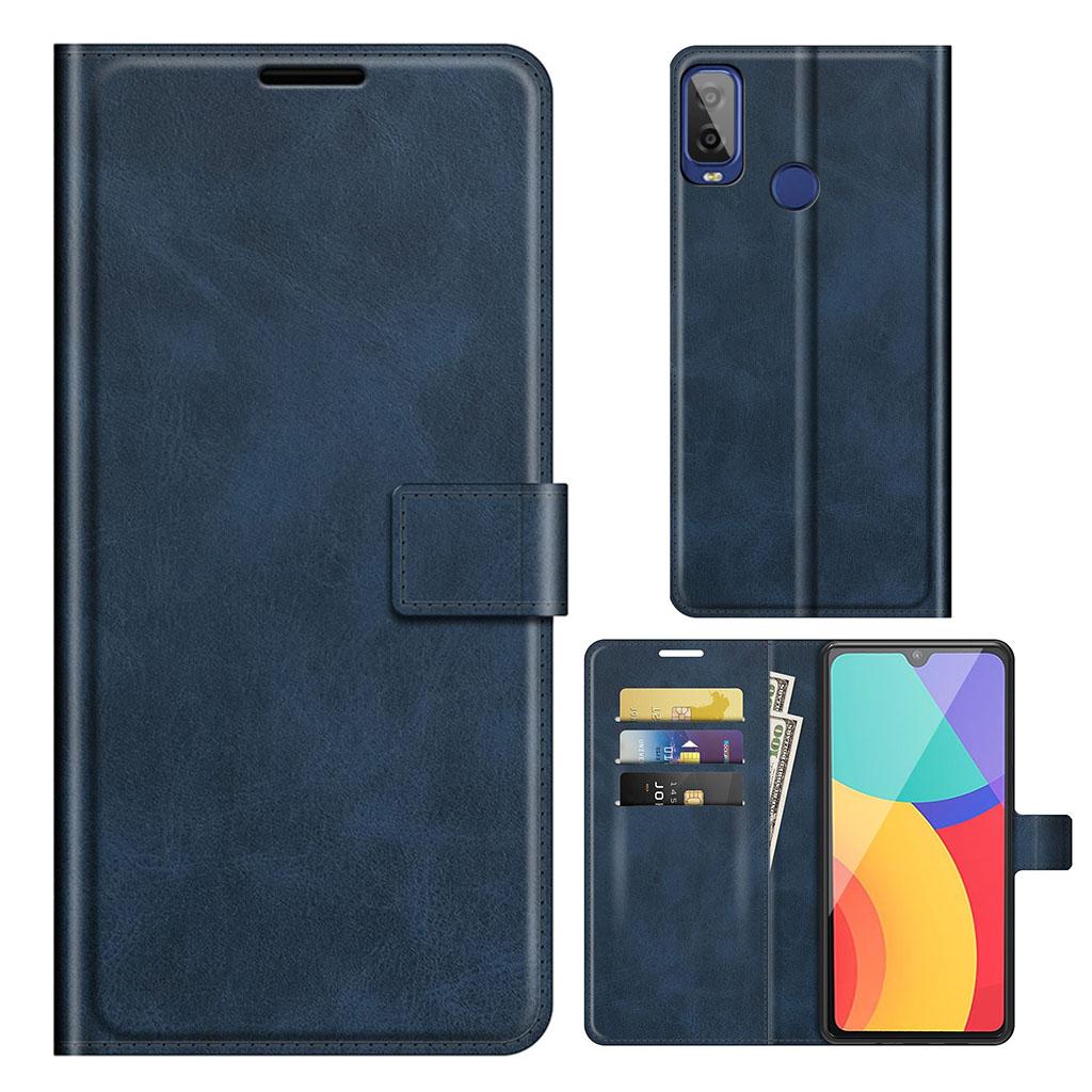 Bilde av Wallet-style Leather Case For Alcatel 1l (2021) - Blue