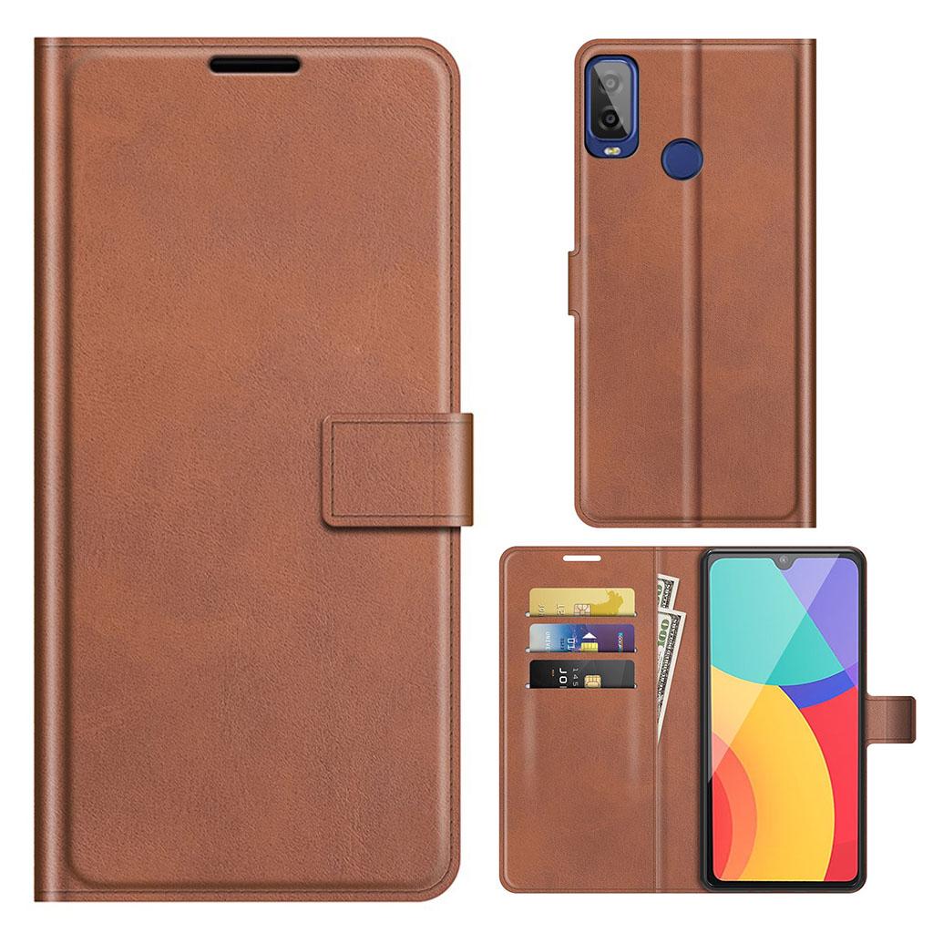 Bilde av Wallet-style Leather Case For Alcatel 1l (2021) - Coffee