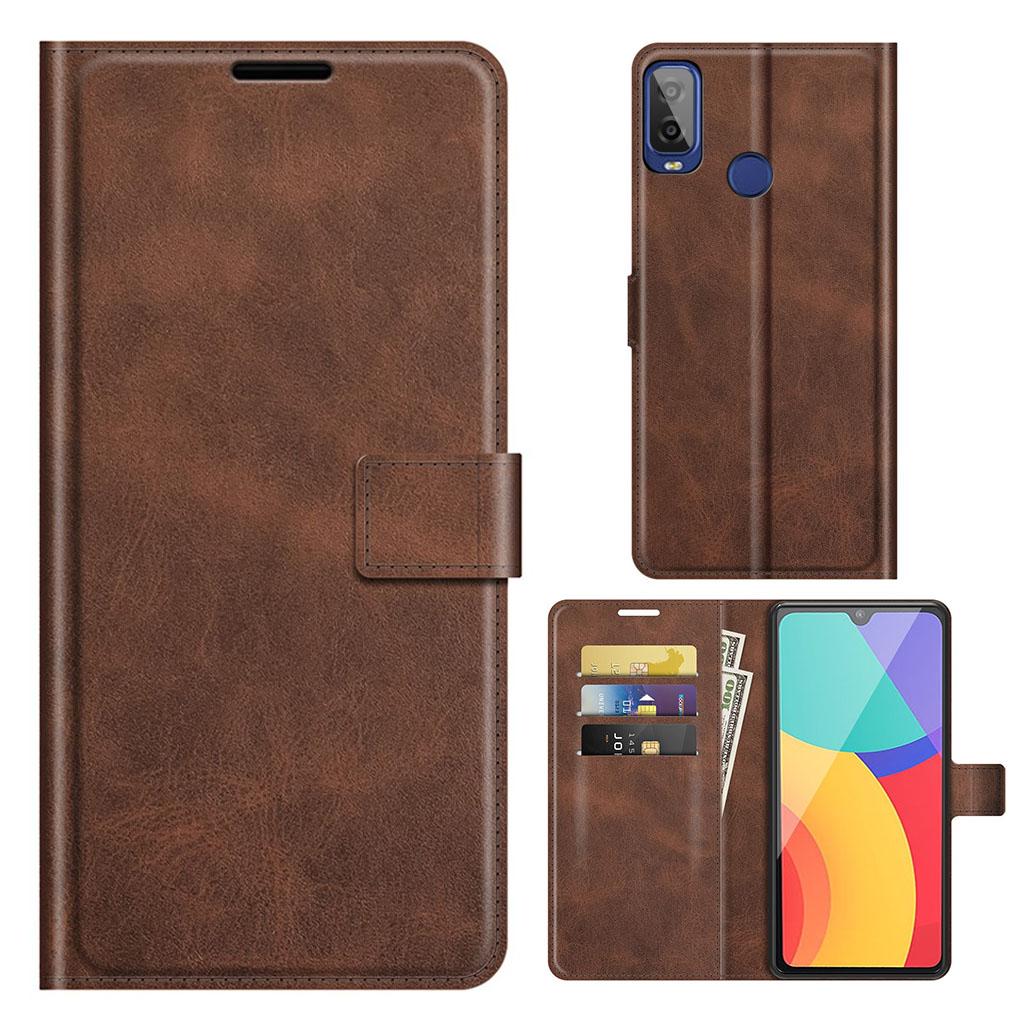 Bilde av Wallet-style Leather Case For Alcatel 1l (2021) - Brown