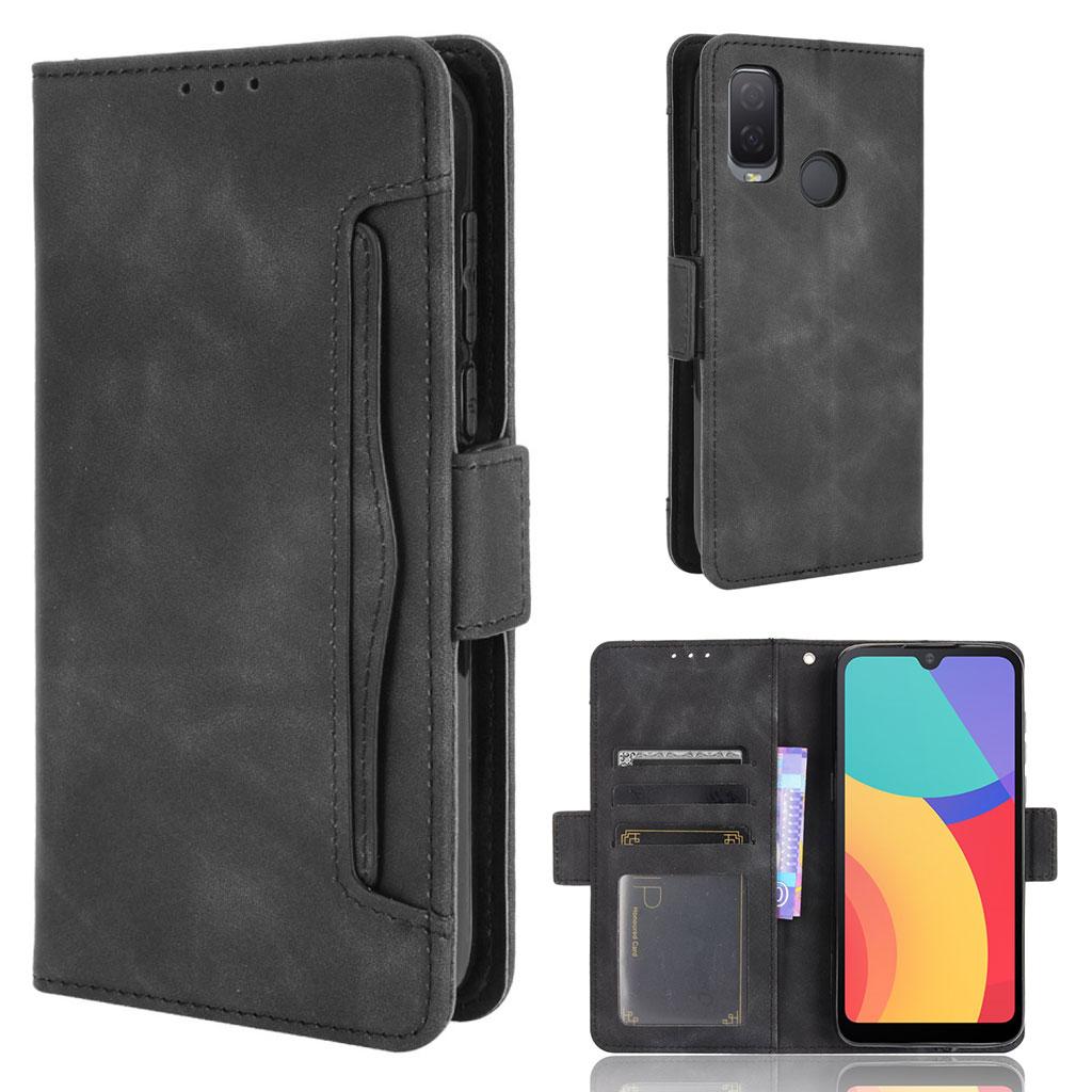 Bilde av Modern-styled Leather Wallet Case For Alcatel 1l (2021) - Black